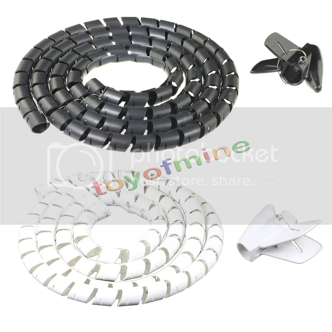 2 5m Flexible Spiral Cable Cord Power Wire Management