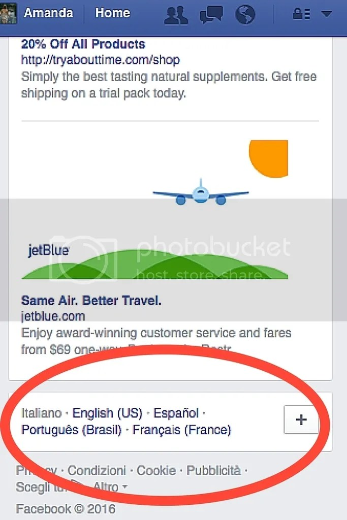 Facebook Travel Planning - Change Facebook Language