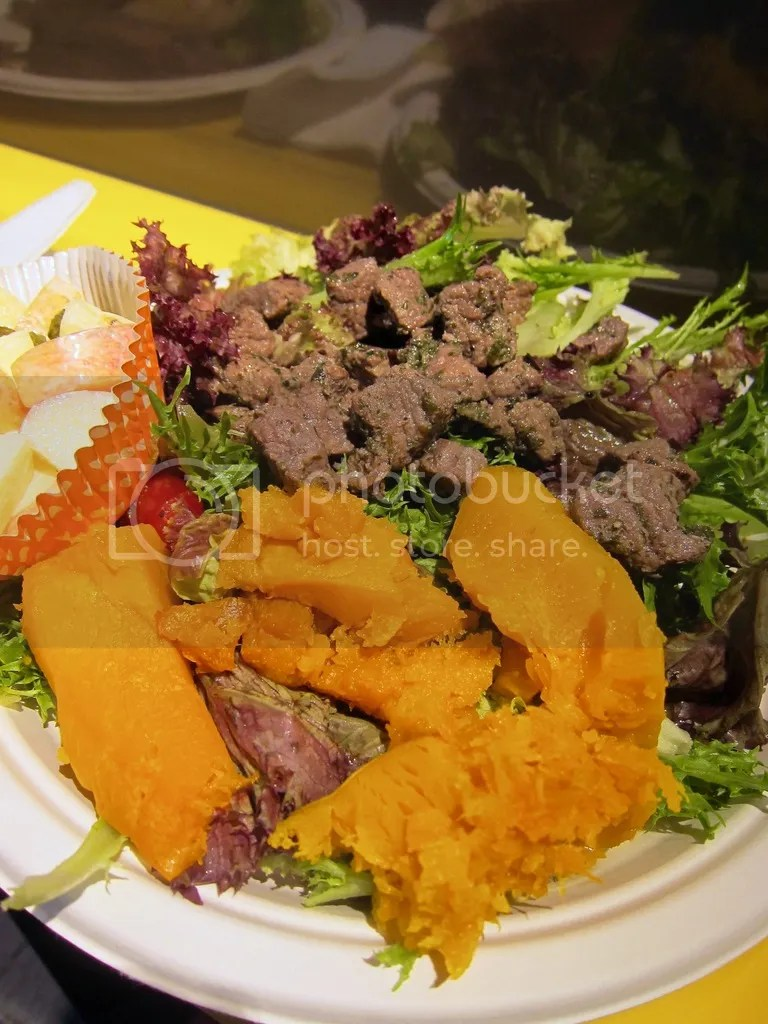 Caveman Food Beef Cubes Salad Meal