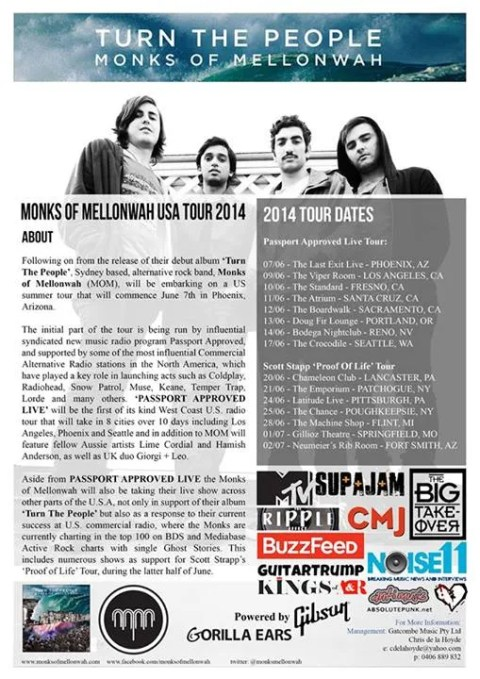 Tour dates for a group I reviewed, Monks of Mellonwah.