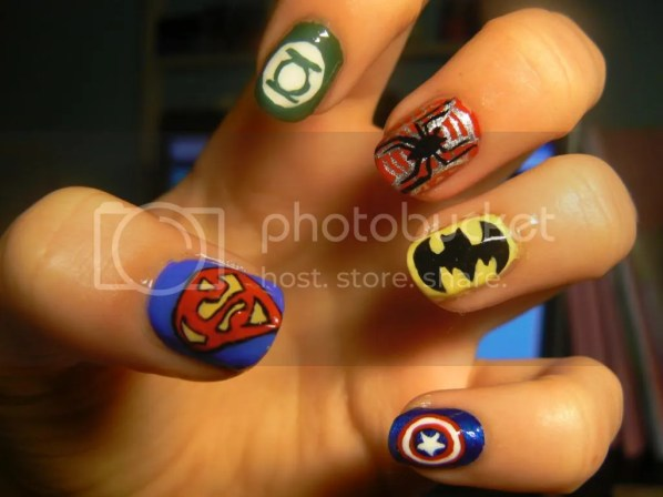 Superheroes nail art