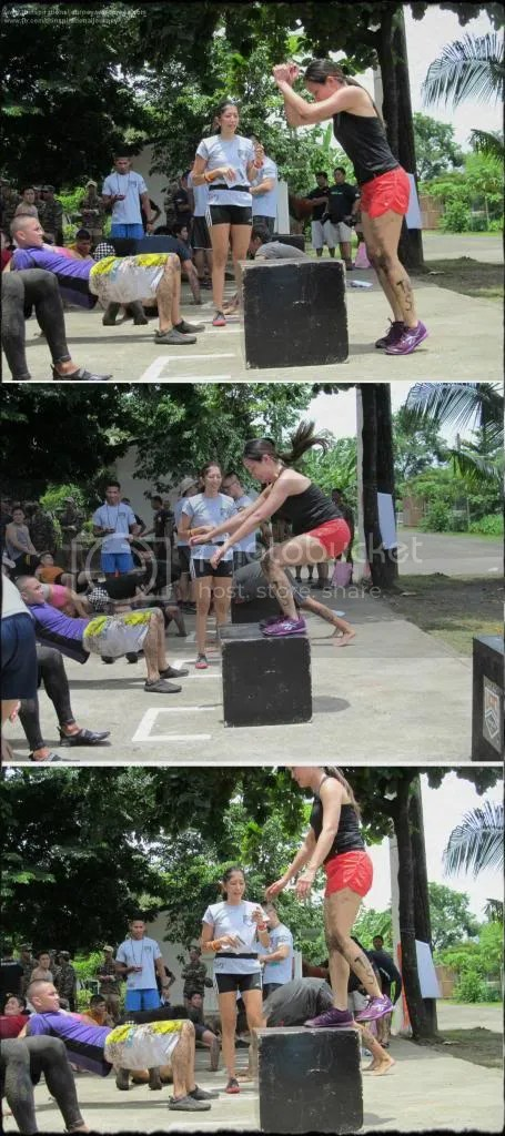 Box jumps and reverse plank hold