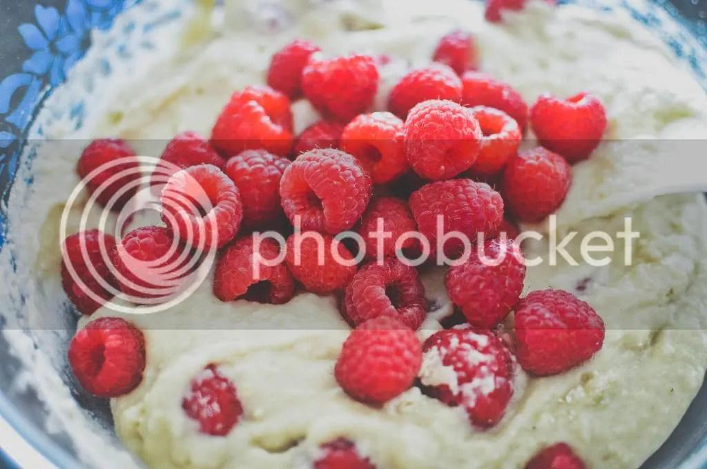 Cupcake Batter with Raspberries