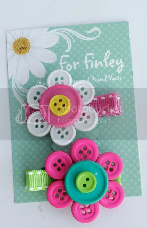 Button Flower Hair Clips
