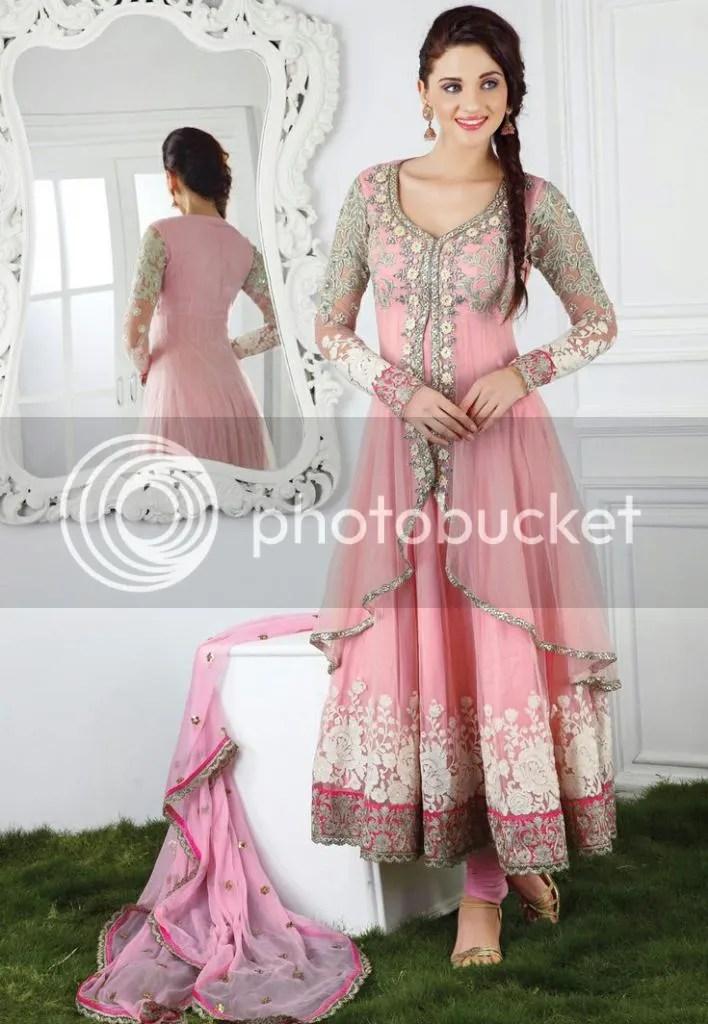 Pink Net Anarkali Churidar Kameez