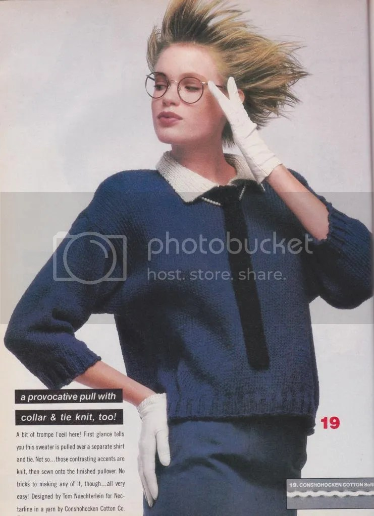 chloeheartsowls.com vintage knitting 1985 vogue oversized pullover sweater with tie