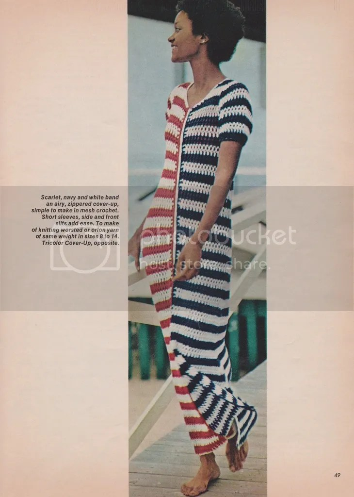 vintage crochet pattern: 1970s tricolor cover-up