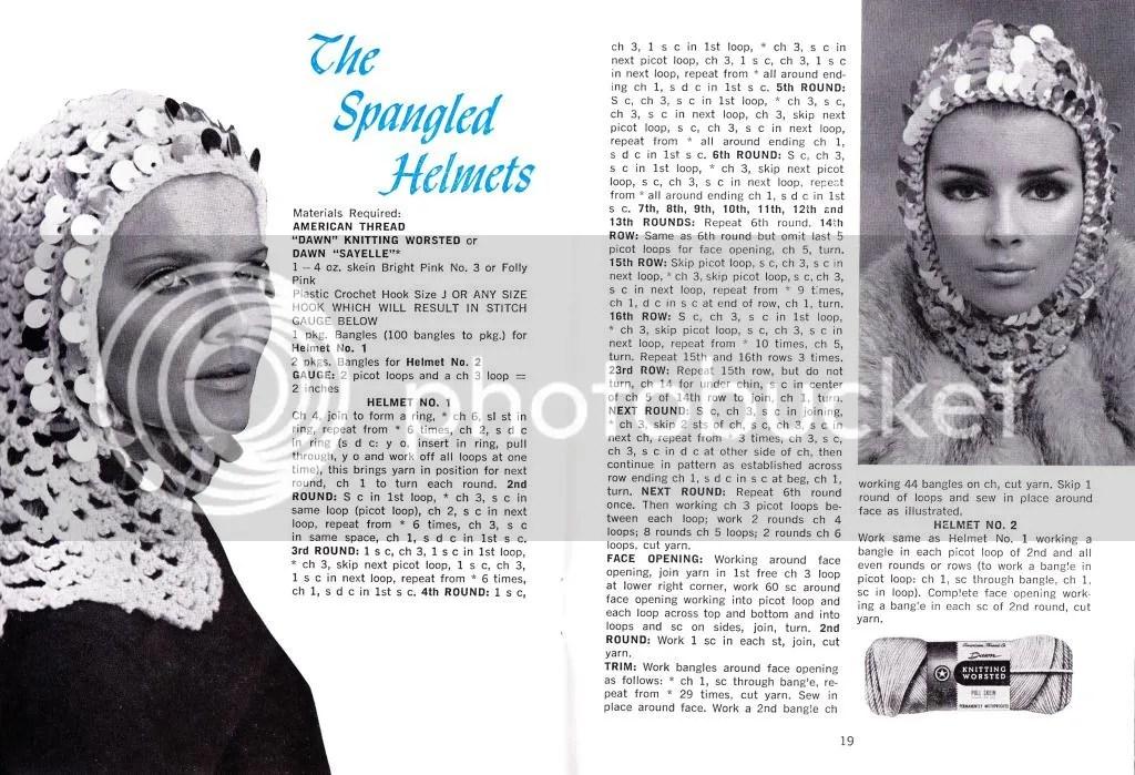 chloeheartsowls.com vintage crochet pattern 1960s helmet hat