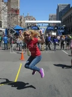 Jumping for joy at the Boston Marathon Finish Line