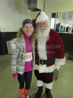 Me with Santa after the Fast Freddie Five Mile Foot Feast - New Albany, Indiana