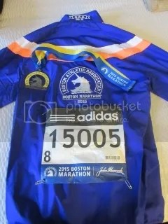 Boston Marathon jacket, medal, and race bib