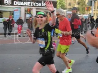 Me waving to Heather and Cathy at Mile 17.5.  Still smiling and feeling good!