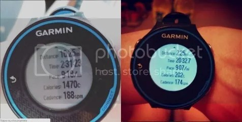 Notice the difference in the Cadence on my Garmin's from my 16 miler and to my 2 miler I did on Tuesday...
