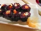 Vegetarian Sushi made with Lotus Foods Heirloom Forbidden Rice