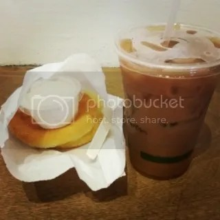Java Kai's Gluten Free English Muffin (with Cream Cheese) and Macanut Latte with Almond Milk