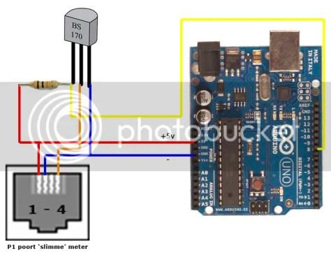 Aansluitschema Arduino en P1 slimme meter