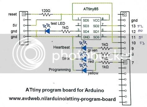 Aansluitschema attiny op de Arduino