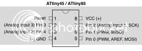 Pinout Attiny45 en Attiny 85