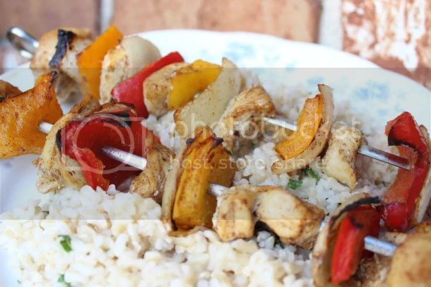 Fajita Style Chicken Kabobs with Lime Cilantro Rice