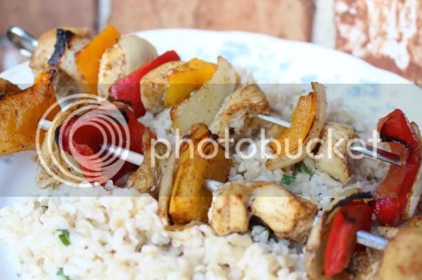 Fajita Style Chicken Kabobs with Lime Cilantro Rice