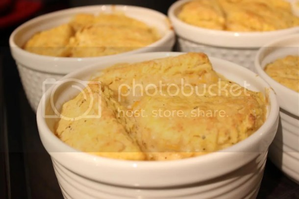 Vegetable Loaded Pot Pies Topped with Savory Pumpkin Biscuits
