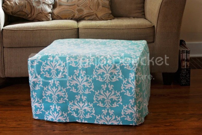 If your ottoman has seen better days, don't throw it out–upcycle it! This DIY ottoman makeover is too cute and so simple! @diyjustcuz
