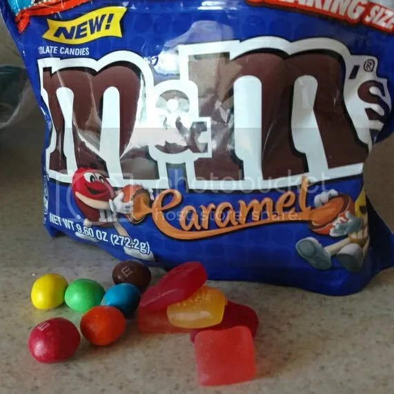 M & M's Carmel filled bag and candy