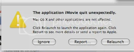 The Application quit unexpectedly