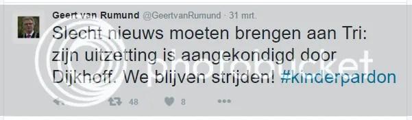 Geert van Rumund twittert: Tri wordt met zijn ouders uitgezet, we blijven strijden!
