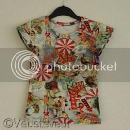 Shirt van circus stof - voor de jongste - zelf kleding maken