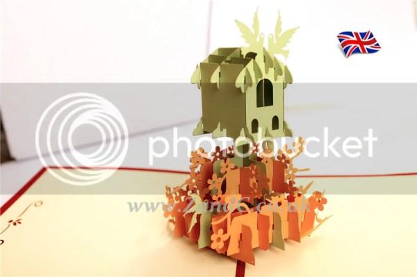 Birds House Nest 3D Pop Up Greeting Handmade Kirigami ...