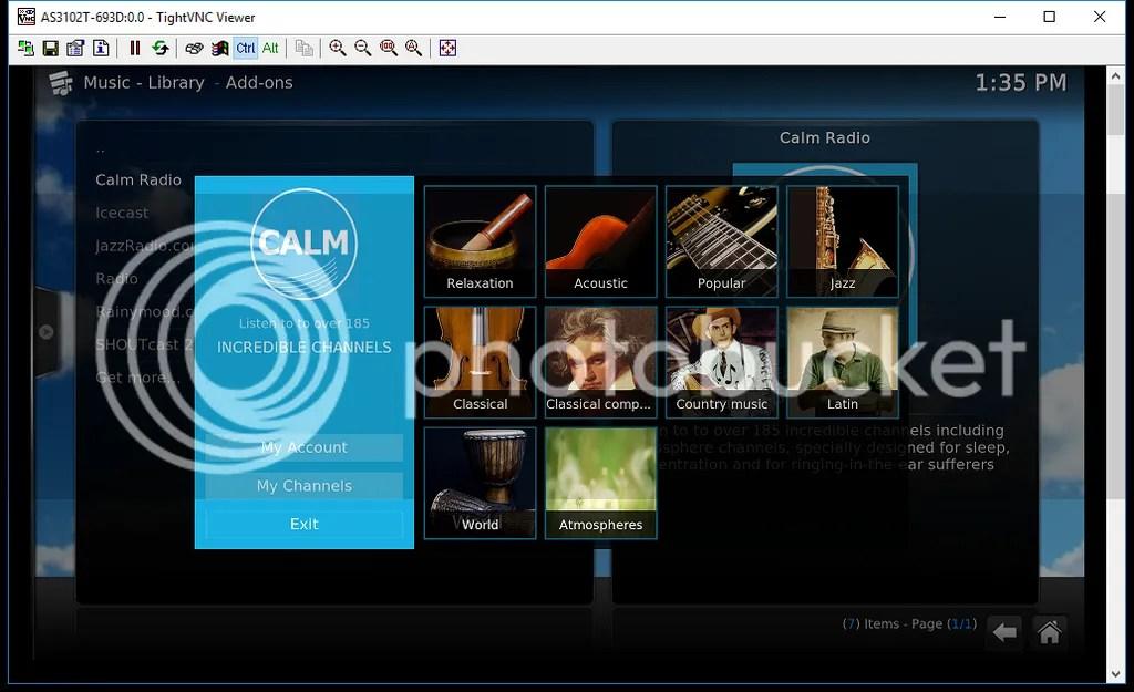 Windows PC上で走らせたTightVNC Viewerからアクセスした、Kodiを実行中のAS3102Tの画面