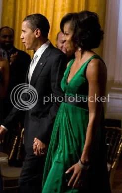 Michelle Obama in Kai Milla Emerald Trapeze Dress