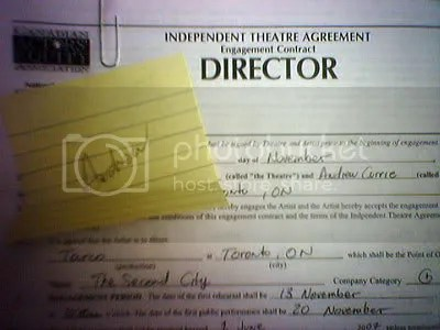 My CAEA directing contract for The Second City Touring Compnany