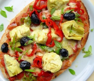Bruschetta with Artichokes, Olives and Mixed Peppers