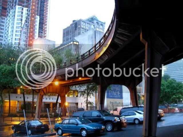 Brooklyn Bridge onramp from below