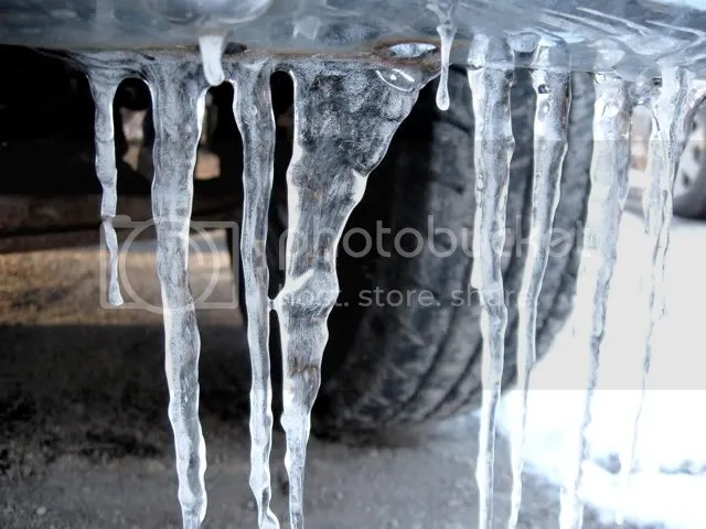 icicles on a truck bumper