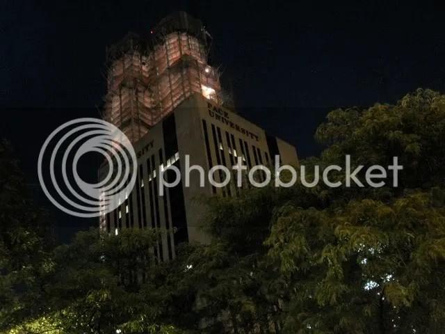 Pace University, night construction
