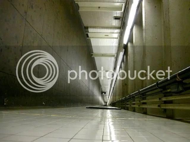 Pedestrian subway tunnel turned sideways