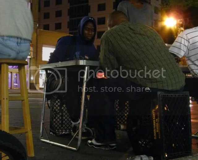 union square, chess game at night
