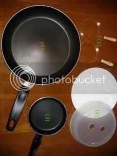 1. Egg rings 2. Microwaveable egg cooker 3. Mini Teflon frying pan 4. Teflon frying pan