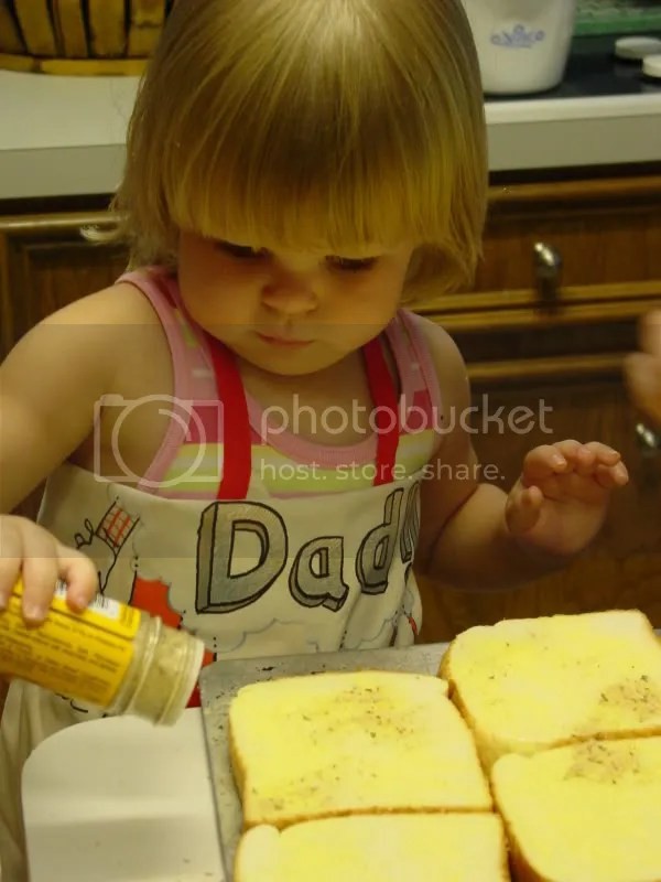 Making garlic toast with Grandmommy