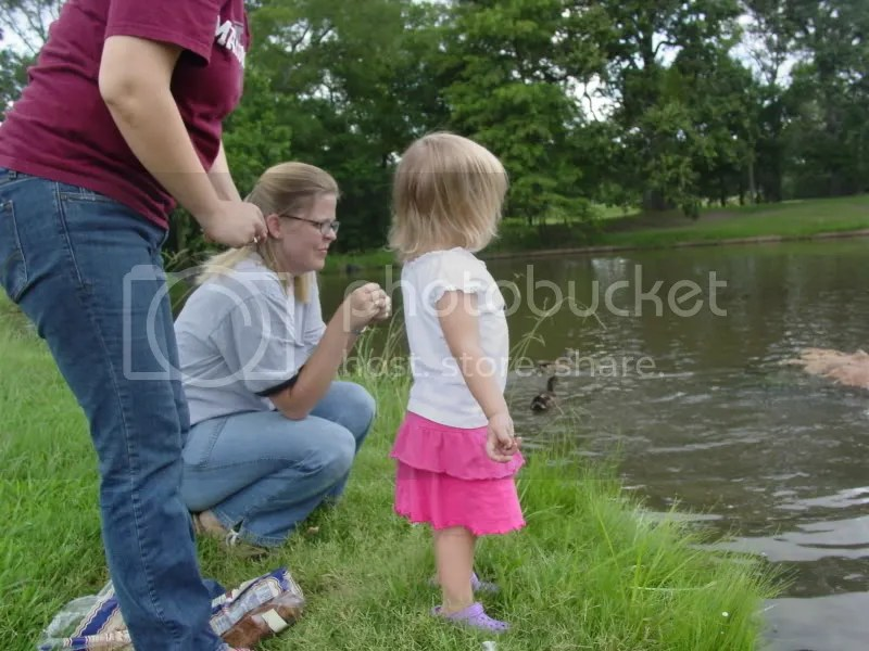 Feeding the ducks at the Texas A&M Research Park with Yee Haw Aunties Maria, Becky and Amanda