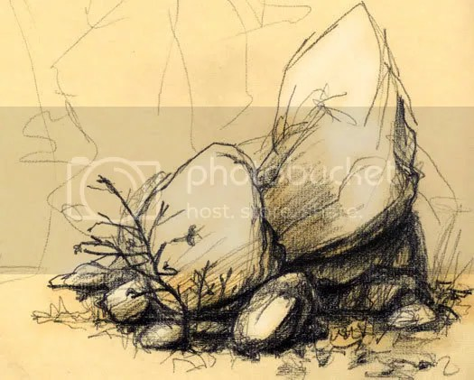sketch of boulders and rocks