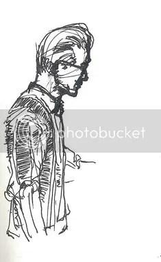ink doodle of Les