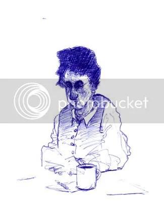 old lady in blue pen