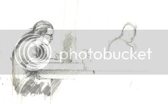 pencil sketch at bar