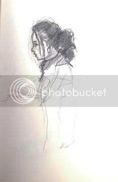 sketch of woman bartending