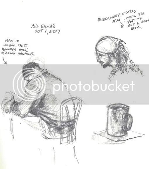 pencil, sketch, handkerchief