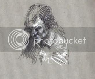 pencil sketch of old man
